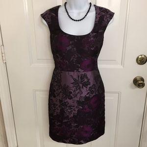 Ann Taylor Purple Floral Midi Dress (size 0)